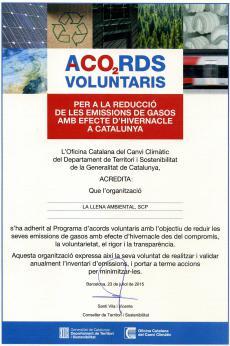 Agraïts de rebre el certificat d'adhesió al Programa d'Acords Voluntaris per a la reducció de les emissions de CO2