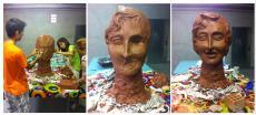 Un capgròs fet amb materials reciclats i al taller de La Llena a punt per la Festa Major de Les Borges Blanques