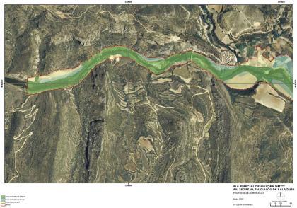 Plànol: Pla Especial per a la millora del riu Segre al pas per Alòs de Balaguer