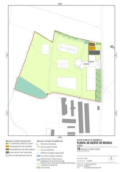 Plano: Estudio de impacto ambiental y estudio de integración paisajística de un centro de gestión de residuos dentro de un PE en suelo no urbanizable